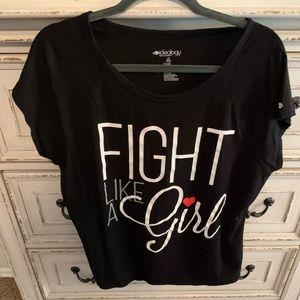 Black & Red Fight Like A Girl T-Shirt, XXL